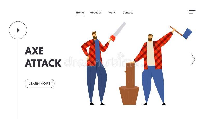Sidan för skogshuggareWebsitelandning, kopplar ihop av skogsarbetare som Standing i olikt poserar rymmer yxan och sågen i händer royaltyfri illustrationer