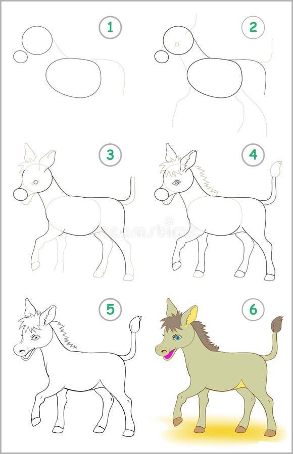 Sidan visar hur man lär stegvis att dra en gullig åsna Framkallande barnexpertis för att dra och att färga vektor illustrationer