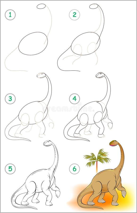 Sidan visar hur man lär stegvis att dra en gullig dinosaurie Framkallande barnexpertis för att dra och att färga stock illustrationer