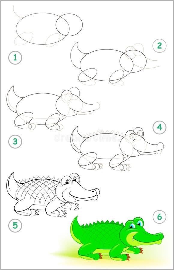 Sidan visar hur man lär stegvis att dra en gullig krokodil Framkallande barnexpertis för att dra och att färga stock illustrationer