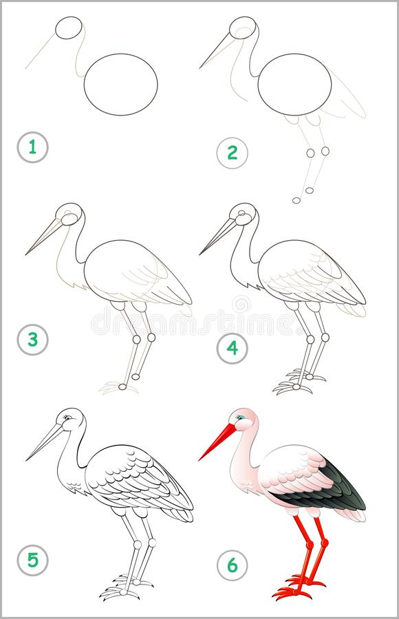 Sidan visar hur man lär stegvis att dra en stork Framkallande barnexpertis för att dra och att färga royaltyfri illustrationer