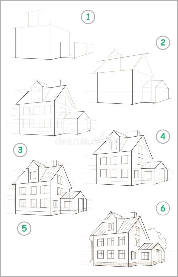 Sidan visar hur man lär stegvis att skapa blyertspennateckningen av huset Framkallande barnexpertis som drar tillbaka skola till vektor illustrationer