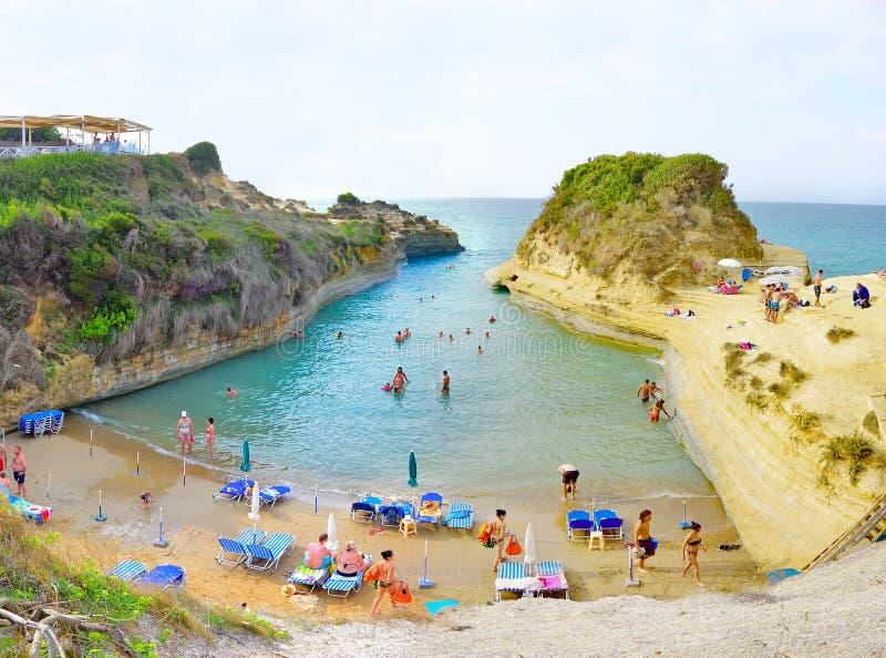 Sidari海滩,科孚岛,希腊 库存照片