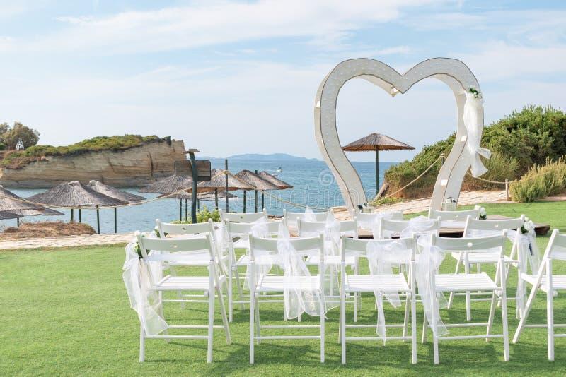 Sidari beach. Wedding decorations near the D`Amour Canal on Corfu island, Greece stock images