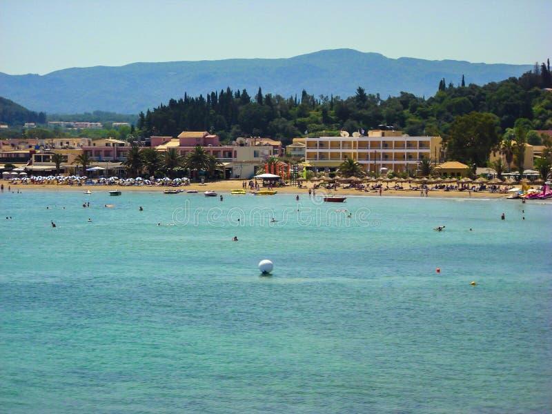Sidari, Corfu, Greece - June 08 2013 : Tourists having fun at Sidari beach on Corfu - Kerkyra island.  stock images