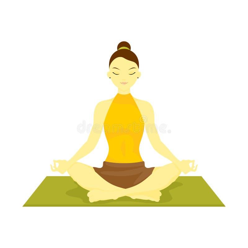 Siddahasana accomplished pose yoga meditation vector illustration
