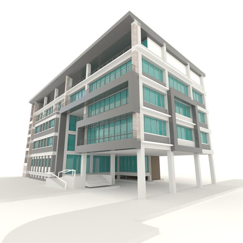 Side of 3D condominium exterior design in white background. Side of condominium architecture exterior design in white background, create by 3D royalty free illustration