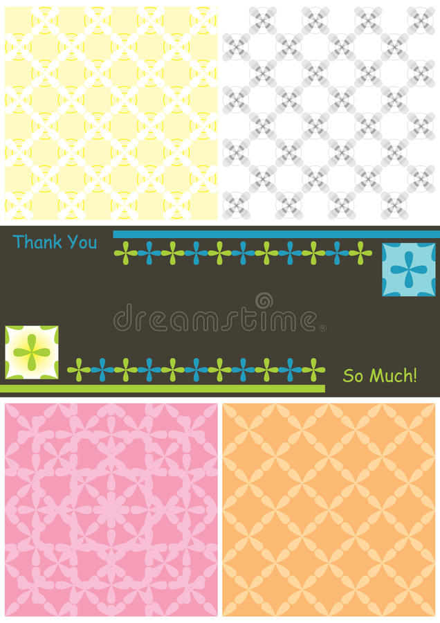 Free Side 4 Flowers 6 Seamless Pattern Thanks Card_eps Stock Photography - 19008232