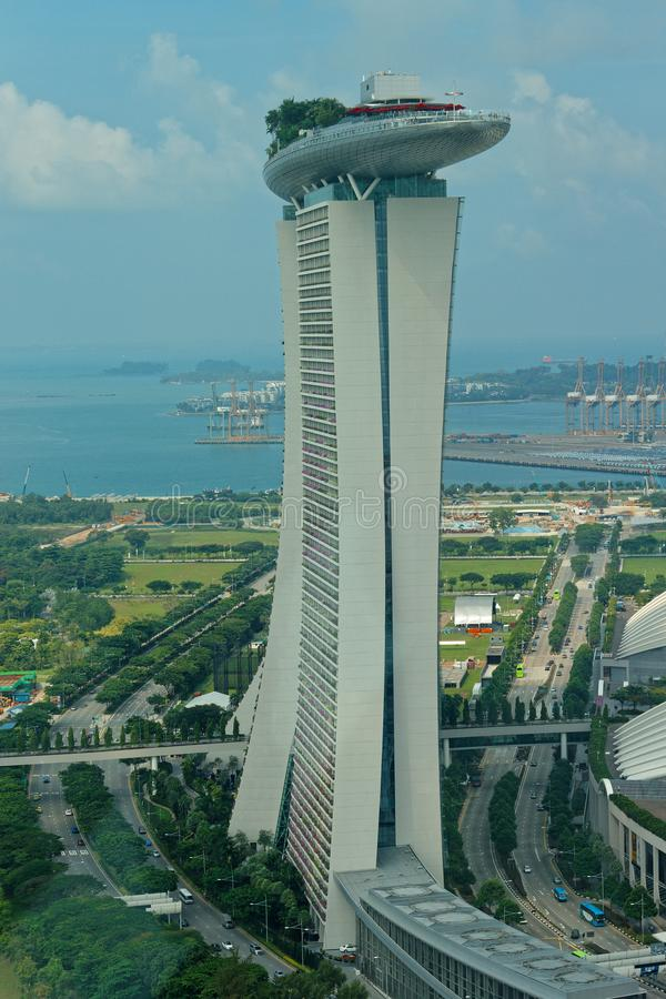 Side aerial view of Marina Bay Sands Hotel royalty free stock photos