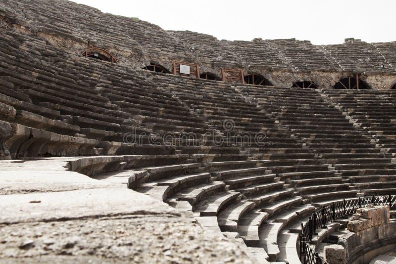 Side ancient city amphitheater in Antalya, Turkey stock photography