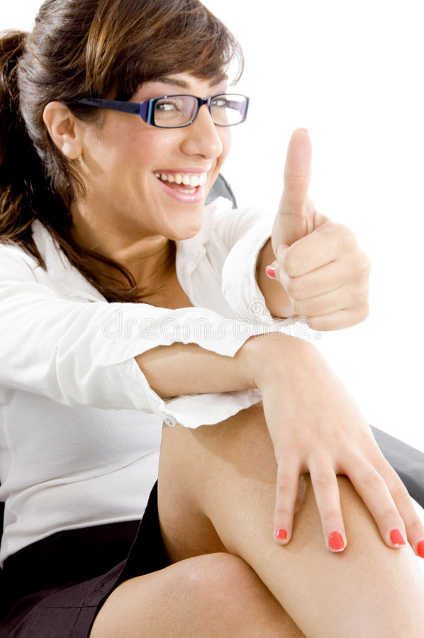 Download Side Angle View Of Happy Accountant With Thumbs Up Royalty Free Stock Photography - Image: 7366107