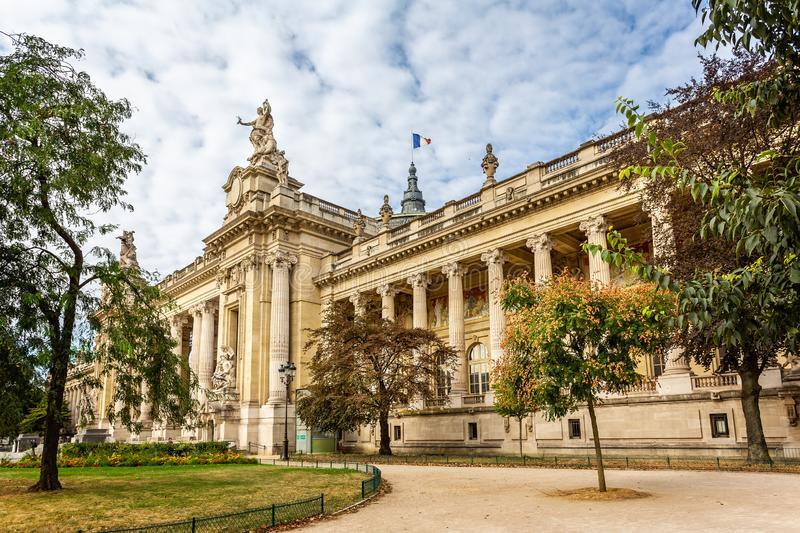 Side angled view of The Grand Palais des Champs-Élysées in Avenue Winston Churchill, Paris royalty free stock images