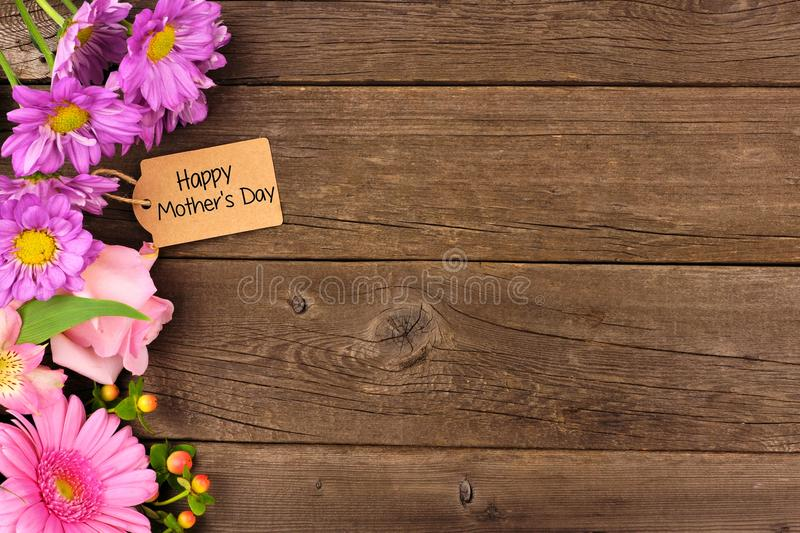 Side Border Of Flowers With Mothers Day Gift And Tag