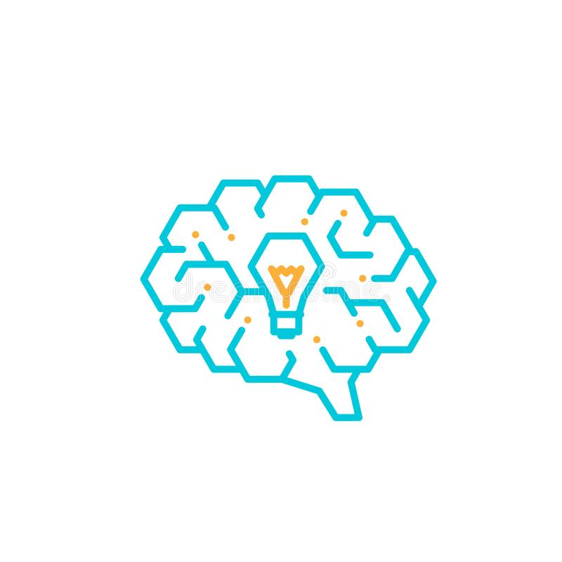 Side Brain logo icon with Incandescent light bulb symbol, Creative idea concept editable stroke design illustration blue and. Orange color isolated on white vector illustration