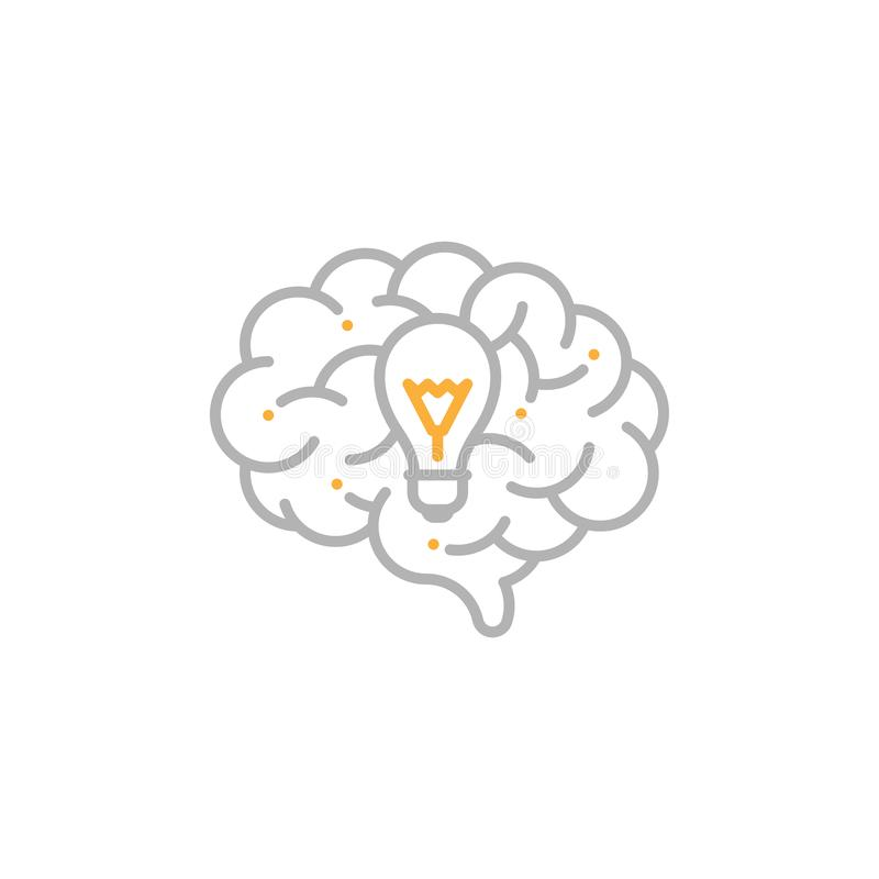 Side Brain logo icon with Incandescent light bulb symbol, Creative idea concept editable stroke design illustration grey and. Orange color isolated on white royalty free illustration
