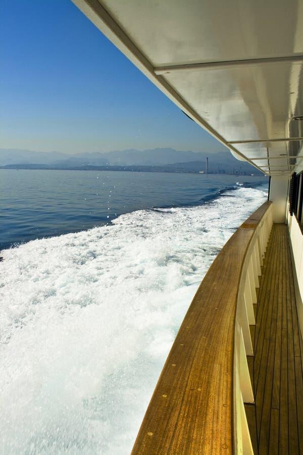 Side of cruising ship royalty free stock photo