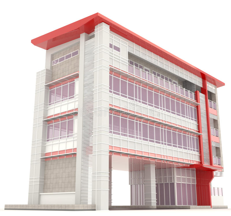 Side of 3d modern office building exterior stock for Modern office exterior design