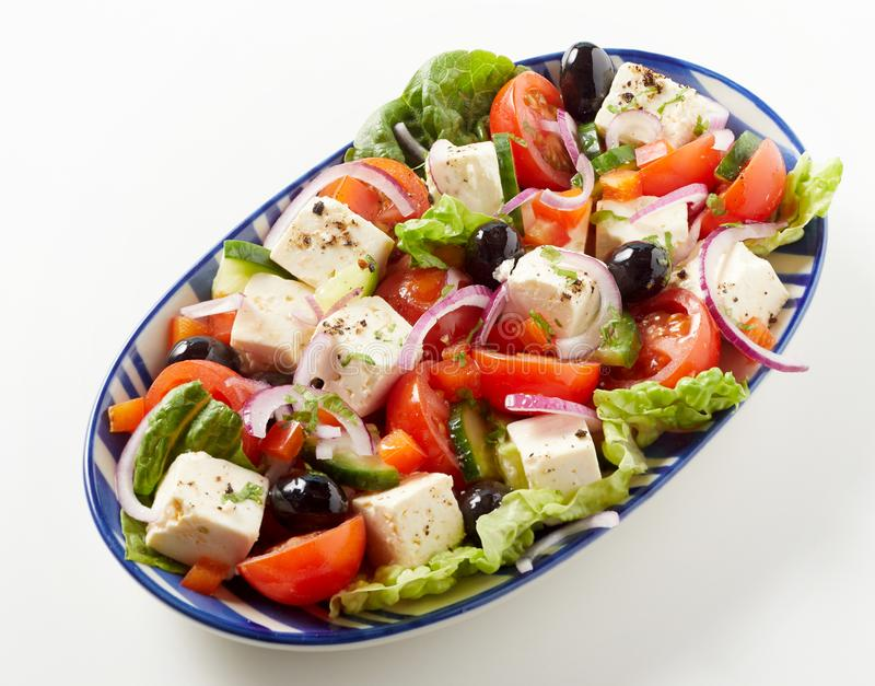 Side dish of healthy fresh Greek salad royalty free stock images