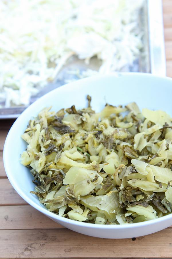 Side dish. Pickled cabbage for eating with spicy rice noodles royalty free stock photography