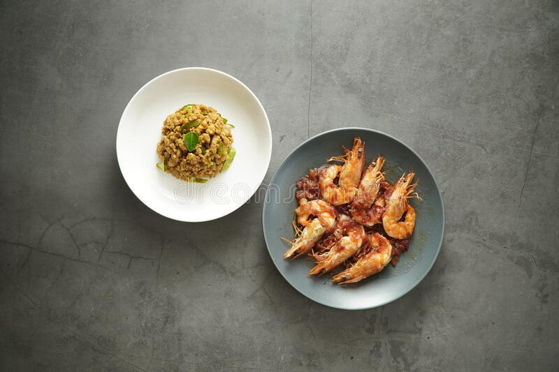 2 side dish Thai cuisine delicious looking with studio lighting stock images