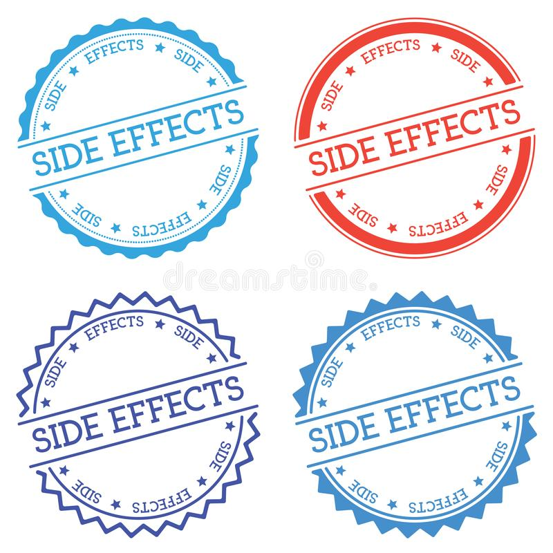 Side effects badge isolated on white background. Flat style round label with text. Circular emblem vector illustration vector illustration
