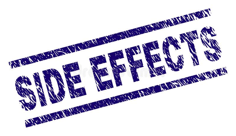 Scratched Textured SIDE EFFECTS Stamp Seal. SIDE EFFECTS seal print with scratced style. Blue vector rubber print of SIDE EFFECTS text with scratched texture vector illustration