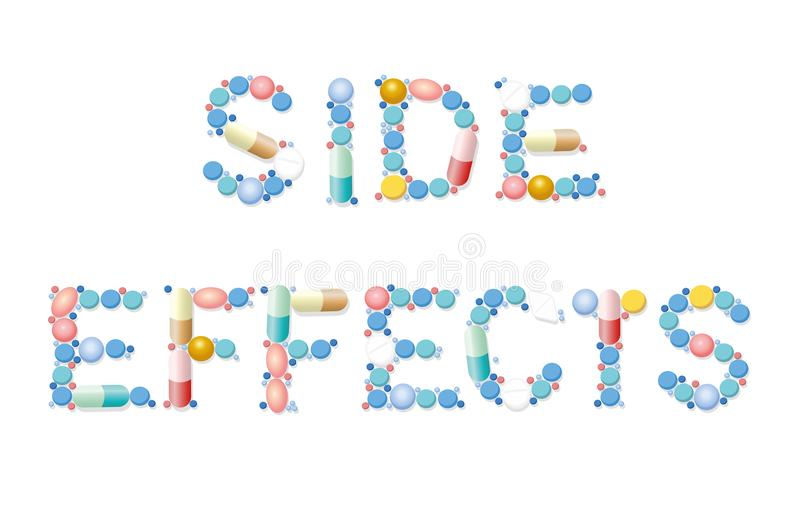 Side Effects Pills Medicine Word. Side effects written with pills, tablets and capsules. Isolated vector illustration on white background stock illustration