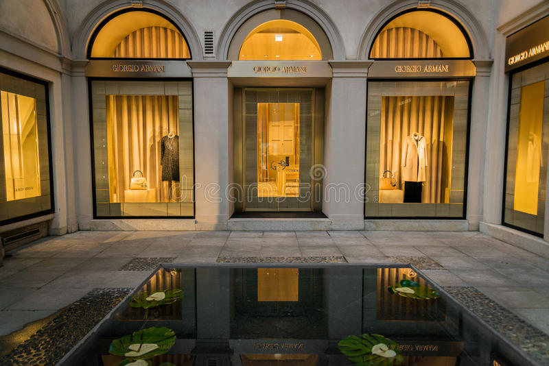 Side entrance of a Giorgio Armani shop in Milan. Milan, Italy - October 8, 2016: Side entrance of a Giorgio Armani shop in Milan - Montenapoleone street, Italy royalty free stock photo