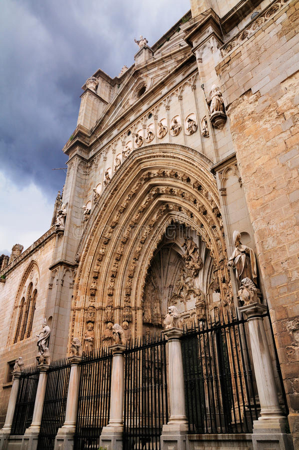Entrance of the Cathedral of Toledo stock image