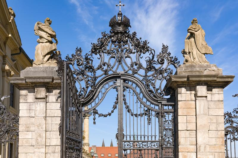 Side entrance to the residence with beautiful decorations Wuerzburg Germany. Side entrance to the garden of the residence with beautiful decorations Wuerzburg stock image