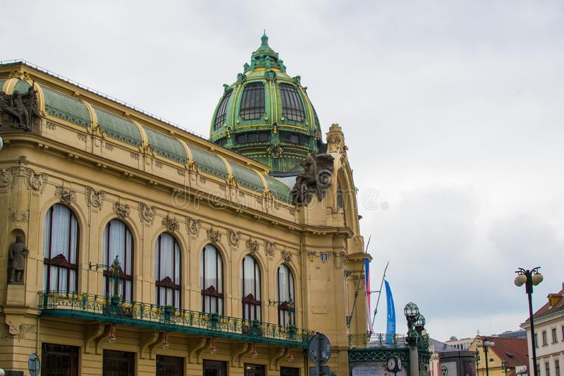 Side of the facade of Municipal House Obecní dům of Prague, Czech Republic, a civic building that houses Smetana Hall, a. Celebrated concert venue royalty free stock photography