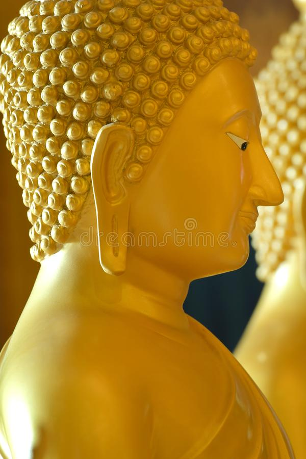 The side face of the Buddha in the temple. stock images