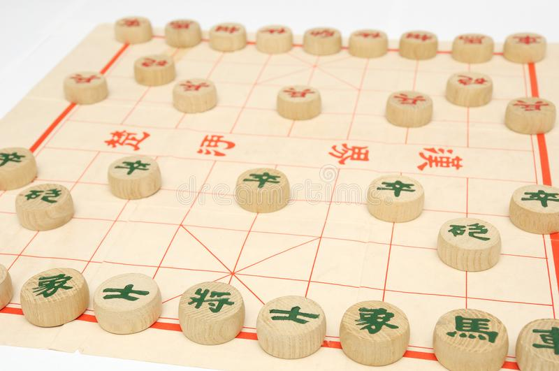 A setup of a game of chinese chess stock image