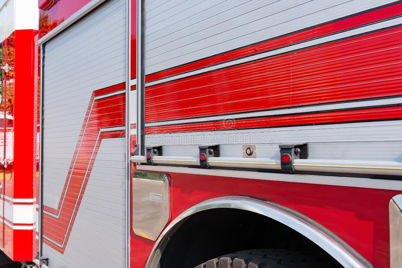Side of a fire truck in outdoor royalty free stock image