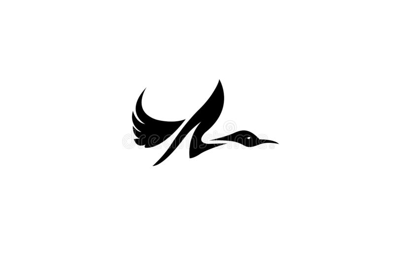 Flying up duck, goose, swan logo art. CREATIVE DESIGN ILLUSTRATION royalty free illustration