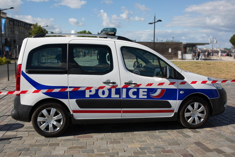 Side of a French police car in the street royalty free stock image