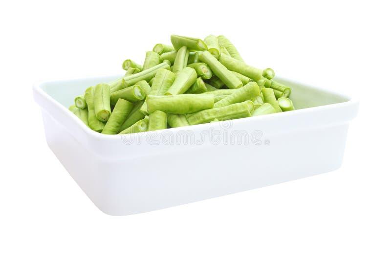 Side of Fresh chop green yard long bean stock image