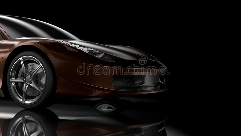Side/front view sport car. Side/front view part of the car - 3d illustration stock illustration