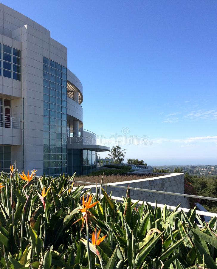 Side of the Getty Museum overlooking Los Angeles royalty free stock image