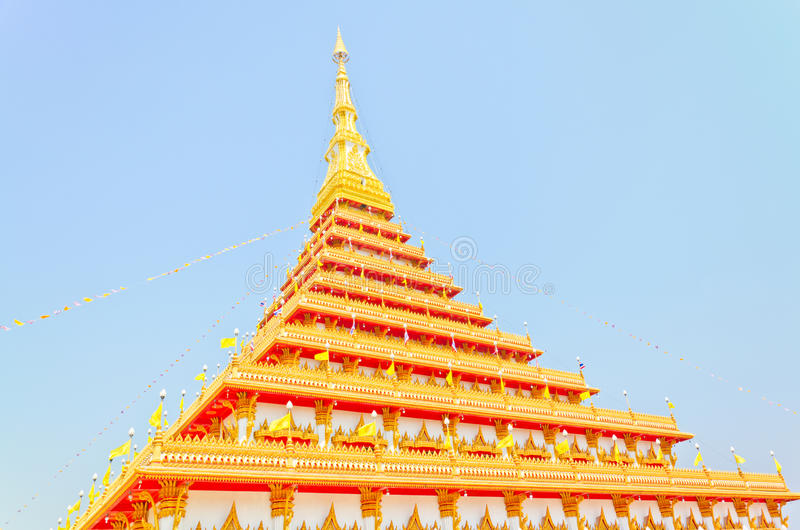 Download Side Of Golden Pagoda At The Thai Temple, Khonkaen Thailand Stock Photo - Image: 29079458