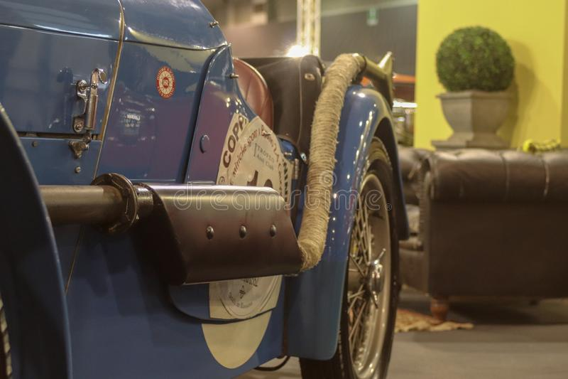 The side of a Oldtimer. With a really special constraction stock photo