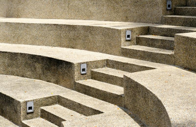 Side perspective on a modern style concrete stairway view stock images