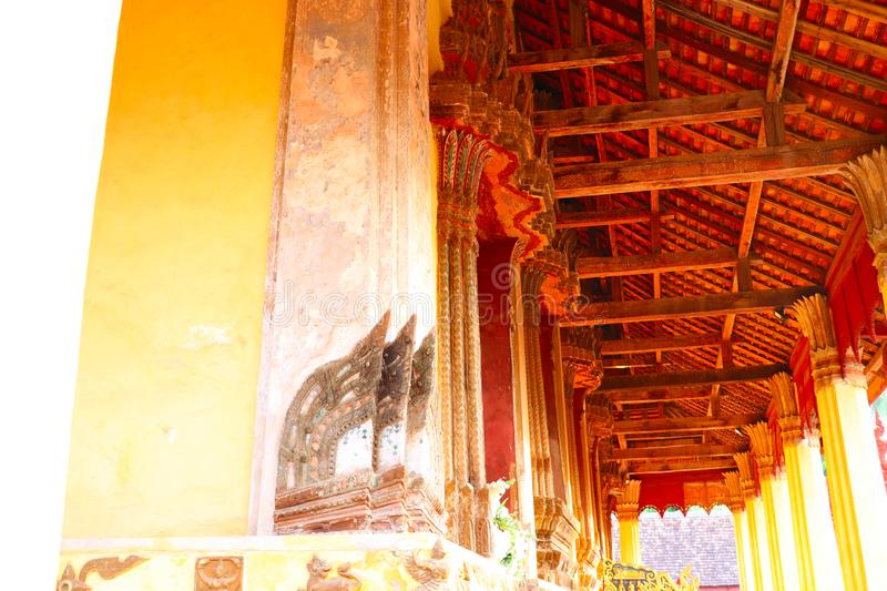 Side perspective view with colorful decoration of a Buddhist chapel stock photography