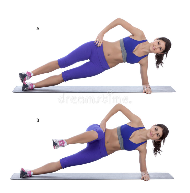 Free Side Plank With A Knee Tuck Royalty Free Stock Image - 57216396