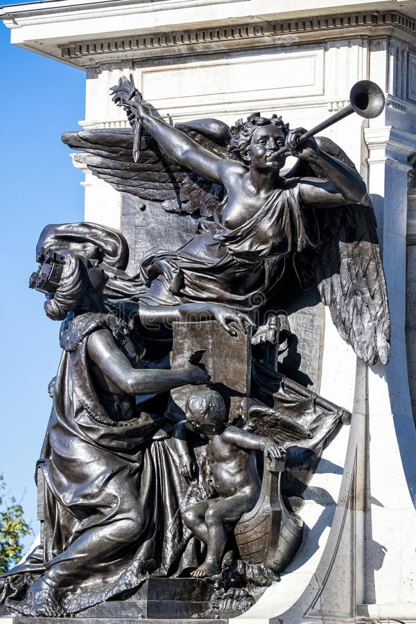 Side portrait of  angels on Statue of Monument of Samuel de Champlain stock photo