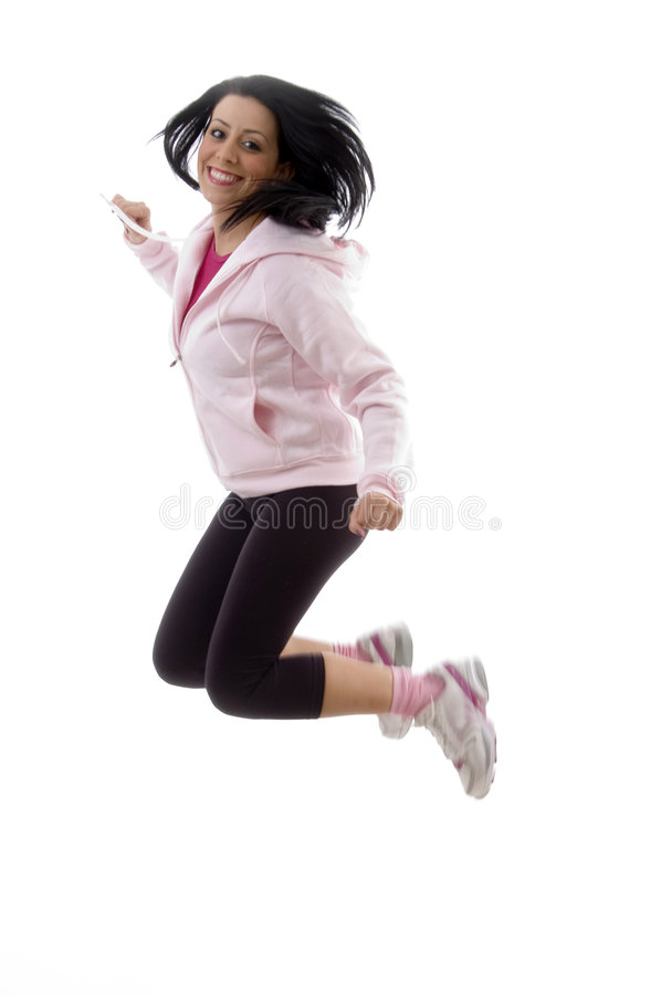 Download Side pose of jumping model stock photo. Image of person - 7364510