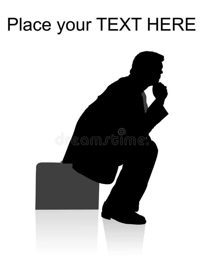 Side pose of man sitting on briefcase stock illustration