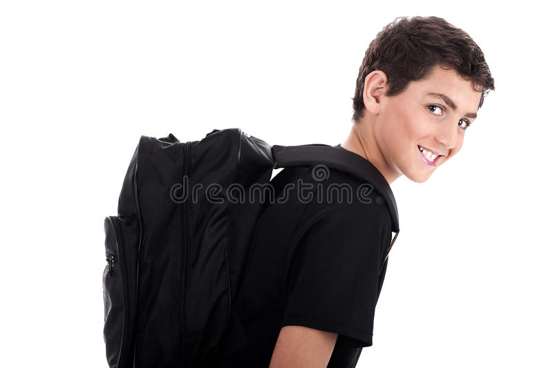 Side pose of student with school bag stock images