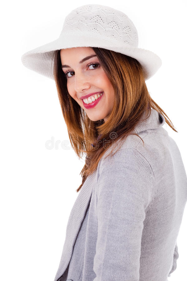 Side pose of a young model smiling stock photos