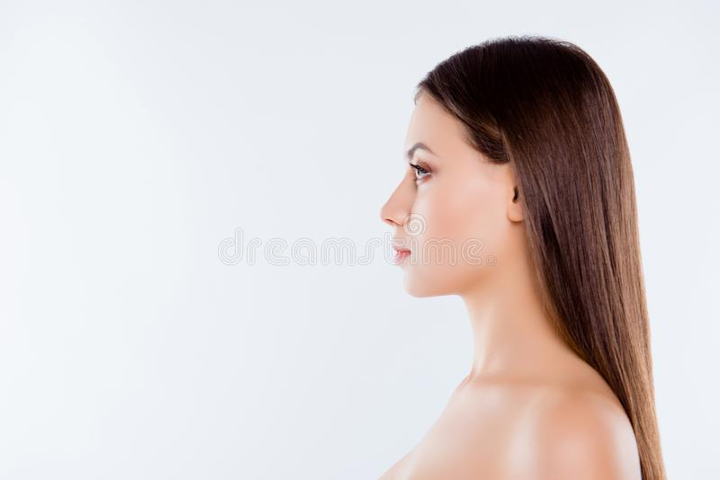 Side profile close up view portrait of pretty beautiful brown-haired brunette woman with pure flawless ideal sensual sensitive sm stock image